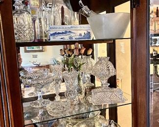 Waterford Crystal; punch bowl with cups; collector vase; marked Chinese box; and salad set