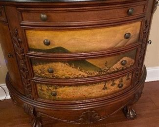 Beautiful Bombay Chest- felt lined drawers, marble top. $300.