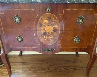 Marble-top marquetry chest