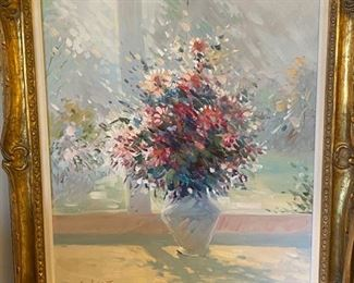 """Robert Lui  oil painting        frame size 37""""h x 31""""w"""