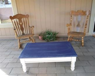 Wooden rocking chairs, refurbished coffee table