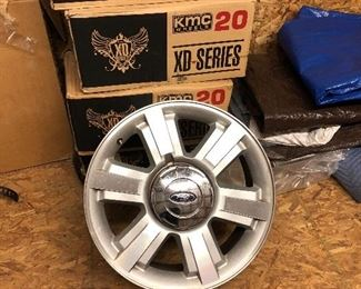 """Four authentic Ford truck 20"""" aluminum wheel rims stored in after market boxes"""