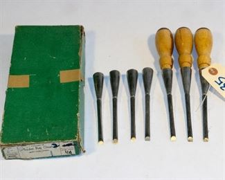 """unmarked  1/4"""" socket chisel set with box"""