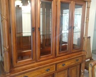 Beautiful solid wood china cabinet with sensor lights wood detail is beautiful