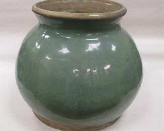 """CHINESE POTTERY CELADON GLAZED POT. 8.5"""" TALL. TWO AREAS OF GLAZE MISSING"""