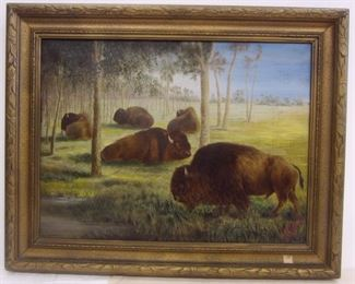 A 1921 ENGLISH OIL ON CANVAS, DEPICTS BUFFALO. SIGNED G.D. CURRIE 1921
