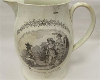 """REPAIRED LIVERPOOL CREAMWARE LARGE GEORGIAN PERIOD PITCHER. HAS TWO TRANSFERRED ETCHINGS ON EITHER SIDE, ONE SURMOUNTED BANNER READS """"LOVE AND HOPE"""". CONDITION: MULTIPLE CRACKS WITH STAPLE REPAIRS, CHIP UNDER FOOT. 9.25"""" TALL, c1790"""