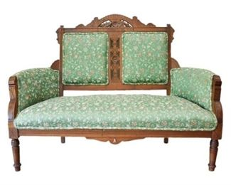 3. Carved Wood Upholstered Settee