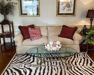 The rug and the coffee table are slightly off center and it's driving me crazy, but also you could bring this whole set up home and just like copy and paste it into your house.