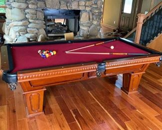 Lot #80: Cannon 8' Pool Table with Accessories
