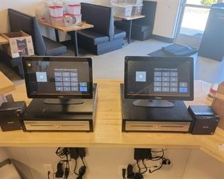 Toast POS System - 2 Registers - 4 Monitors - 2 Kitchen Printers - App Based