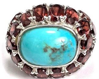 Sterling Turquoise Garnet