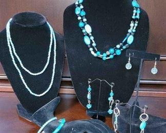 002 2 Necklaces, 2 Bracelets  3 Pair Of Earrings