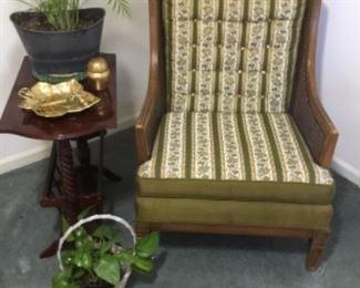 Vintage chair, magazine table  & plants