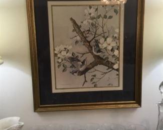 Lovely framed print in dining room