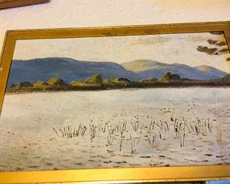 1890 era original oil on canvas by Robert Bolling Brandegee, 1848-1922, Brandegee , an American Pre-Raphaelite, painted  the marsh lands of Upstate New York
