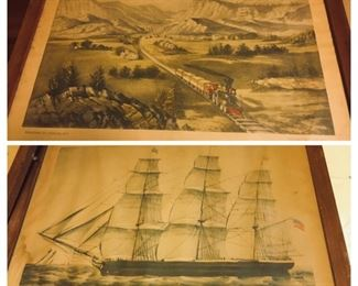 pair of early  Currier and Ives prints