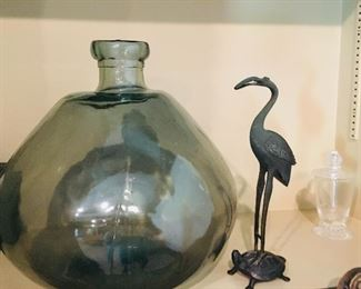 early hand blown glass jug and antique Chinese bronze figure of mythical crane on heavenly Lo Shu turtle--from the estate of the New York Cooper family