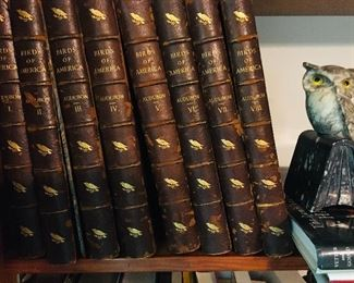 8 volumes of John James Audubon BIRDS OF AMERICA--the  George Lockwood 1870  edition.  Each volume has the plate James Fenimore Cooper --this would be the 2nd-NOTE--Over a hundred years ago, someone tore out some of the bird plates so the books are not complete.  I can send you a complete list of the engravings that we do have.