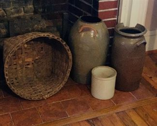 Pottery. Crocks. Baskets.