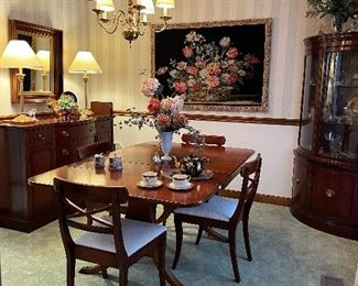 Dining table, 2 leaves, 4 chairs & table pads. Drexel Sideboard, tapestry & corner cabinet