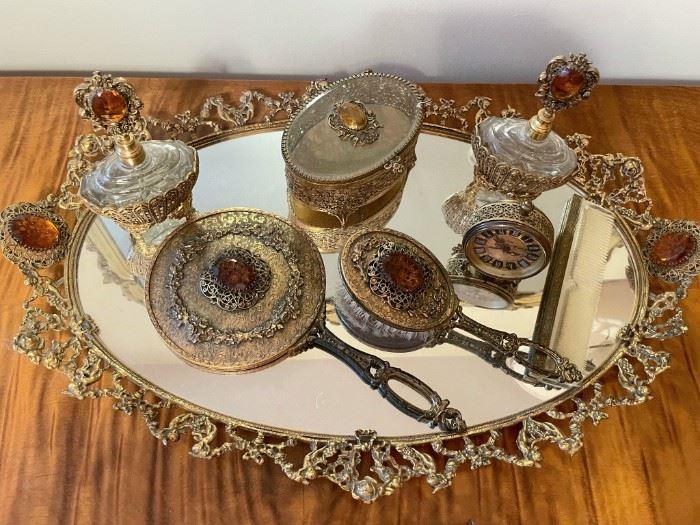 Vintage brass Ormolu vanity set - brush, comb, mirror, two perfume decanters, trinket box, clock and tray!