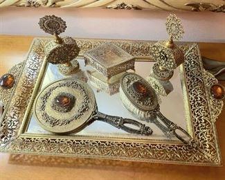 Vintage vanity set - brush, mirror, two perfume decanters, trinket box and tray!