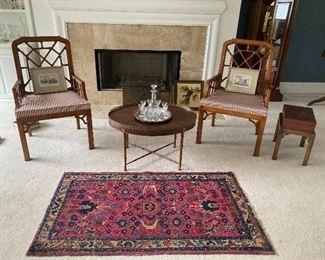 WIDDICOMB Arm Chairs, BAKER Oval Table &              3' x 5' Rug