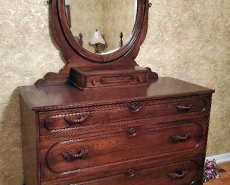 "Antique Solid Wood 4 Drawer Dresser With Carved Tilt Mirror, 77"" x 48"" x 21"""