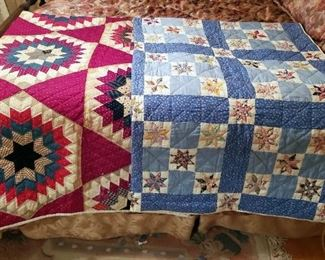 """Hand Stitched Hand Pieced Star Quilt, 72"""" x 86"""", And Hand Stitched Hand Pieced 8 Point Star Quit, 72"""" x 84"""""""