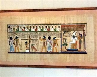 """Framed """"Judgment"""" Scene Hand Painted On Papyrus 21"""" x 41"""", And Egyptian Chariot Hunter 16.5"""" x 20"""""""