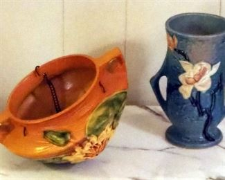 """Roseville Pottery 7.5"""" White Magnolia And Deep Aqua Blue Vase, And Hanging Roseville Water Lily Planter"""