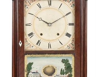 """1007 An Eli And Samuel Terry Federal Pillar And Scroll Clock 1824 Signed: Eli and Samuel Terry White painted wood dial with black Roman numerals hour markers and minute track, thirty-hour wooden works movement, and patented five wheel movement enclosed in a mahogany case with finials 29"""" H x 17.75"""" W x 4.5"""" D Estimate: $500 - $700"""