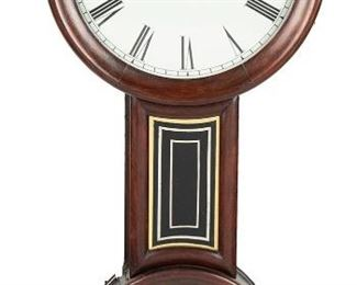 """1010 A Baltimore-Style Clock First-half 19th Century Possibly George Hatch, white painted metal dial, black Roman numeral hour markers with minute track, eight-day single train weight-driven brass movement, figure eight-style rosewood case with other secondary woods, black and gilt-glass tablets 33"""" H x 14.5"""" W x 4.25"""" D Estimate: $600 - $800"""