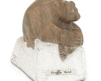 """1011 Earl Eder b.1944, American """"Evening Catch,"""" 1982 Marble Signed and dated: E. Eder / SF N.M. / 1982; further signed with artist's cipher; titled to plaque 6.5"""" H x 4.5"""" W x 8.5"""" D Estimate: $200 - $400"""