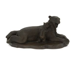 """1012 Wah Ming Chang 1917-2003, Chinese/American Bear With Cub, 1973 Patinated bronze Signed and dated: W. Chang / 1973 / [illegible]; further dated and numbered: 9 7 73 / 219 3.25"""" H x 7.5"""" W x 3.5"""" D Estimate: $300 - $500"""