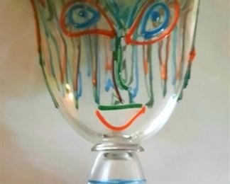 """20"""" tall Venetian """"Face"""" vase with colorful applied features, signed by the Murano artist with certificate. BONUS: Framed artist's drawing depicting this actual huge vase.  Priced to sell!"""