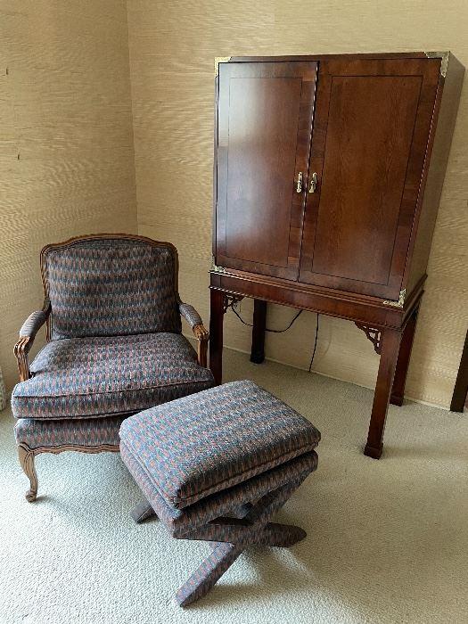 Asian-inspired TV Armoire/Bar, armchair, and ottoman