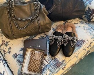 Gucci slippers and wallet, Chanel Purse and Italian Leather satchel