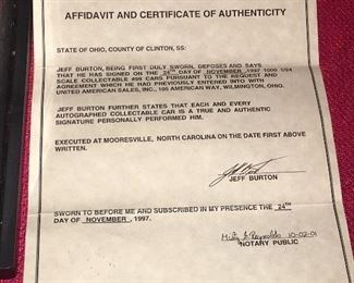Jeff Burton Signature COA