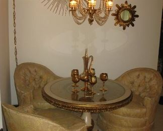 INLAID ROUND TABLE  BUY IT NOW $ 145.00  3 MATCHING CLUB CHAIRS BUY IT NOW $ 65.00 EACH