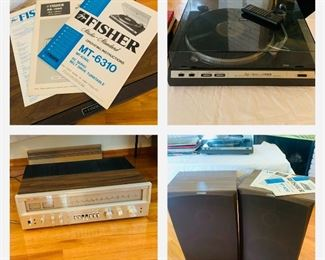 Fisher receiver, turn table and speakers