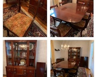 Duncan Phyfe style table and 6 chairs, 2 leaves, Buffett