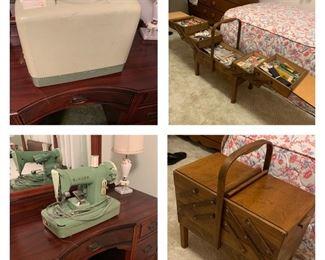 Singer sewing machine, Mid century Norwegian sewing caddy