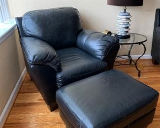 Leather Chair & Ottoman, Matches Sofa