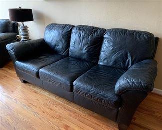 Leather 3 Cushion Sofa, Matches Chair & Ottoman