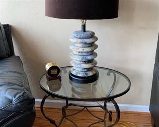 Polished Stacked Stone Lamp, Glass Top End Table with Iron Legs