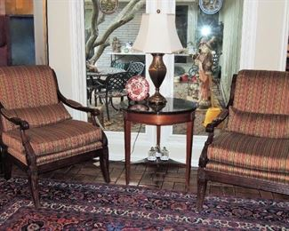 Traditional style chairs and end table. 1960s.  Large area rugs