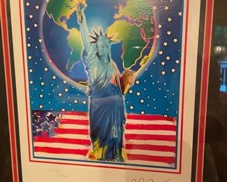 """Peace on Earth  with Certificate of Authenticity Height: 12.25 in. (31.12 cm) Width: 9 in. (22.86 cm) PETER MAX (1937- ) Peter Max has achieved huge success and world-wide recognition for his artistic accomplishments as a multi-dimensional artist. From visionary Pop artist of the 1960s, to master of dynamic Neo Expressionism, his vibrant colors have become part of the fabric of contemporary American culture. Known as a """"Global Artist"""" showing the need for greater responsibility to our planet, his creative talents have served important global and world events. During his career, he has been regarded as a passionate environmentalist and defender of human and animal rights, and many of his works have been dedicated to these noteworthy causes. His principles of freedom and democracy are depicted with his famous paintings of American icons of freedom including Lady Liberty and the American Flag."""
