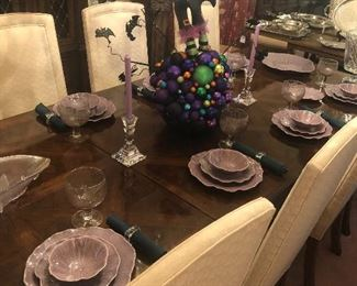 Drexel dining table , purple pottery